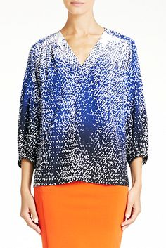 New Cahil top in shaded curtain navy transitons perfectly from work to weekend.