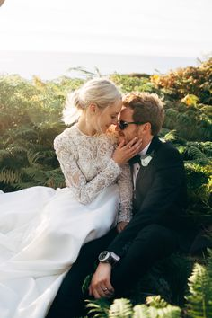 Bride & Groom Sunset Portrait - Dale Weeks Photography | Stylish Welsh Wedding | Emma Beaumont Wedding Dress | Mis-Match High Street Grey Bridesmaid Dresses | Green Foliage Bouquets