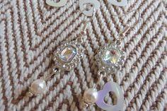 Crystal AB & White Swarovski Pearl bead Drop Bridal Earrings. Pierced or clip on. Swarovski pearl earrings. Swarovski wedding jewellery by HazelsWeddingShop on Etsy