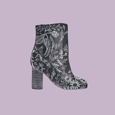 Playing with some new drawing techniques. This one is ink with colored pencil. Based on the @asos Emilia Jacquard Ankle Boot #illustration #fashionillustration #boots
