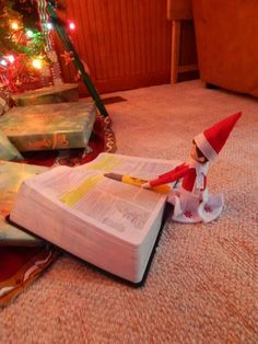 Our Elf Trixie Lou reading the Christmas story, in Luke Chapter 2, under the tree....she loves highlighters!