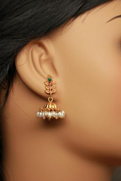 Your place to buy and sell all things handmade Gold Jhumka Earrings, Gold Bridal Earrings, Gold Wedding Jewelry, Jewelry Design Earrings, Gold Earrings Designs, Gold Jewellery, Jhumka Designs, Antique Earrings, Silver Jewelry