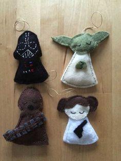 Felt Star Wars Ornaments is part of Felt crafts Star Wars - diystarwarschristmasornaments Diy Christmas Star, Felt Christmas Ornaments, Homemade Christmas, Star Wars Christmas Decorations, Diy Ornaments, Beaded Ornaments, Glass Ornaments, Cadeau Star Wars, Felt Crafts
