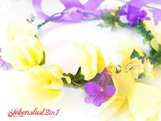 Tiara+Blumenkranz+Midsommar*FANNY*+Wicke+gelb/lila+von+Lebenslust2in1+auf+DaWanda.com