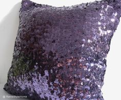 Luxury Glamour. Purple Sequins Embellished by RaineStyleHome