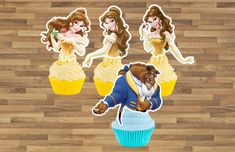 Princess Belle Cupcake Toppers Beauty and the Beast Cupcake