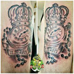 Domex ink Tattoo Oberarm Krone Taschenuhr