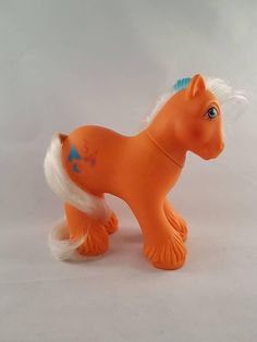 28bbe730 Big Brother WIGWAM Vintage 80s My Little Pony, Orange Pony, Clydesdale,  White and Blue Hair