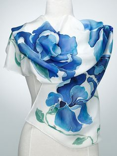 Hand Painted Silk Scarf, Silk Shawl using French dyes. Blue Iris flowers on white.