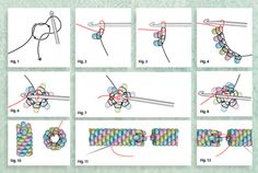 "Bead crochet illustrations, Barb Switzer's ""Bead Crochet Ropes 101,"" Beadwork magazine 2015"