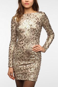 Urban Outfitters - Dress The Population Lola Sequined Bodycon Dress Winter Dresses, Day Dresses, Nice Dresses, Dresses With Sleeves, Dress Winter, Winter Outfits, Knit Dress, Dress Up, Bodycon Dress