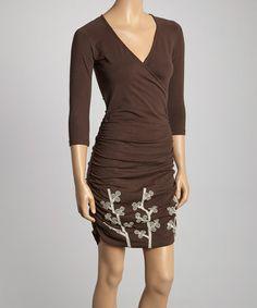 Look what I found on #zulily! Coffee & White Winter Berry Bella Surplice Dress #zulilyfinds