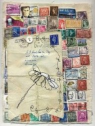 Art journal. small stamps, white ink on colored background made to look like postage stamps