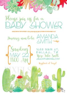 DIY Printable Cheap baby shower invitations only $15. Cactus theme is gender neutral with green and orange Download and print your own shower invites!