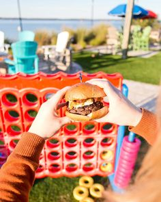 This isn't your average backyard burger. Head out to the beach for an American Wagyu Burger, the way. (Pairs well with a frosty beer. Backyard Burger, Red Fish Blue Fish, White Sand Beach, Outdoor Dining, The Good Place, Good Food, Beer, Pairs