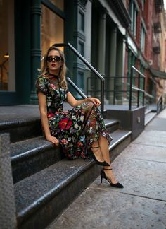 NYC fashion blogger Mary Orton in black Anthropologie embroidered fit and flare floral midi dress black Sam Edelman ankle strap pumps black M2Malletier mini leather shoulder bag black cat eye sunglasses Marc Jacobs pearl drop earrings and black leather Gucci waist belt