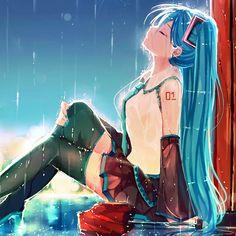 Miku Hatsune  bajo la lluvia triste? :c