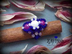 """Купить Кольцо """"Карнавал цвета"""" из бисера с натуральными камнями - кольцо из бисера, кольцо из бисера и камней"""
