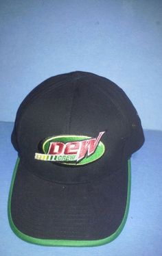 Mountain Dew Crew Embroidered Logo Baseball Cap Hat Adjustable Black & Green #Unbranded #BaseballCap