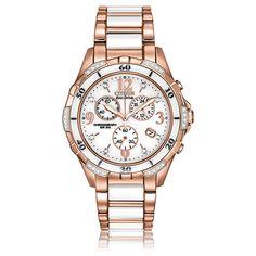 CITIZEN® Ladies White Ceramic & Rose Gold Diamond Chronograph Bracelet Watch