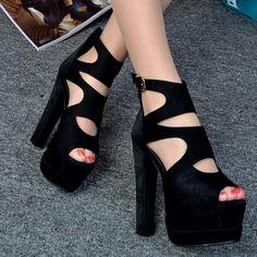 a48c0f754 Женская Летняя Сексуальная Черный Европа Стиль 14 см Комфорт Туфли На  Платформе Peep Toe Сандалии