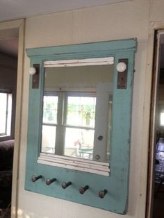 Repurposed Mirror With Railroad Spikes For Hooks (handcrafted From An Old Door)
