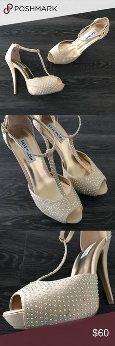 Steve Madden T-Strap Rhinestone Heels Item: Steve Madden T-Strap Rhinestone Heels Color: Nude/Tan (small mark on show shown in pictures - in good condition otherwise)   ❤️ Reasonable offers will be considered (please use the offer button to negotiate).  ✅ Bundle to save on shipping costs! ♏️ Lower prices on Merc! Find my page by searching for @heather_lynn.  ❌ NO TRADES! ❌ Lowball offers will be ignored and deleted.  Closet Tags: VS, Victoria's Secret, Sport, PINK, Nike, Follow Me, Follow…
