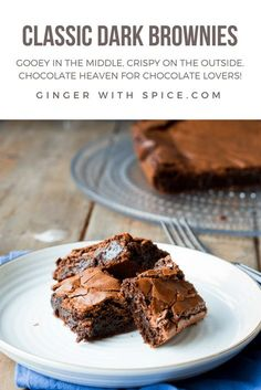 Classic Dark Chocolate Brownies - each bite has everything you could ask for in a brownie, when you bite into the crispy top and the gooey inside just melts in your mouth. It's easy to make for a crowd, and you can find the recipe here! #brownies #chocolate #cake #easy #dessert #party