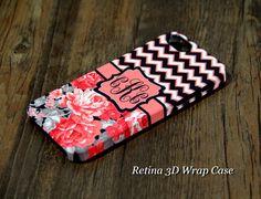 Chevron Floral Monogram iPhone 6 Plus 6 5S 5 5C Protective Case #922