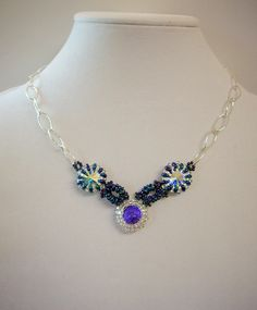 Necklace Made with Swarovski Rioli & Seed bead 18""
