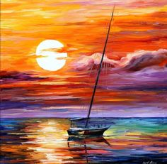 Far And Away — Palette Knife Nautical Sailboat Art Work Oil Painting On Canvas By Leonid Afremov. Size: X Inches cm x 75 cm) Far and away – Oil Painting On Canvas By Leonid Afremov Oil Painting On Canvas, Painting & Drawing, Canvas Art, Knife Painting, Painting Clouds, Painting Frames, Art Amour, What's My Favorite Color, Ouvrages D'art
