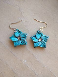 Turquoise Flower Earrings 1.5 Inches Long Aqua by EmilyMah on Etsy