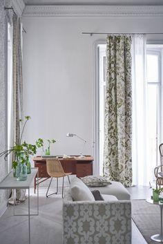 Designers Guild Cellini Birch fabric and Iridato Chalk fabric