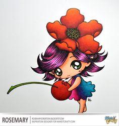 Make It Crafty image - Skin: E000, E00, E01, E02, E13 Eyes/Cherry Stem: YG23, YG67, G28 Cherry: R24, R27, R29, R39 Hair: Black, C7, RV09, RV02 Flower Petals: YR04, YR09, R24, R27, R29, R59 Dress: RV04, RV06, RV09, BG09, BG07, BG05