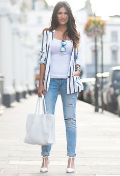 @roressclothes clothing ideas #women fashion white striped blazer, distressed jeans, white heels