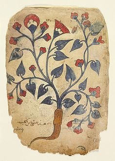 Watercolor illustration from a herbal manuscript, 13th century Iraq or Syria