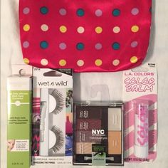 Polka Dot Cosmetic Bag with Cosmetics Pink polka dot cosmetic bag has been used and has 2 stains inside. Ipsy Gold Bag & Ipsy Red Lip Bag have been gently used (no stains). All cosmetics are NEW. You may mix and match, just be precise and sure of what you want included in your bag. All cosmetic bag dimensions are 7 x 5. I'm asking $15 for eyelashes & glue, individualized eye shadow palette, lip color and corrector plus Cosmetic bag. Makeup