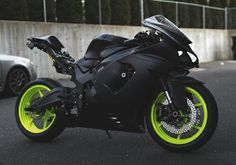 Black/lime green motorcycle