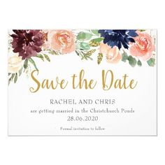 Burgundy Watercolour Fall Wedding Save The Date Invitation Christmas Wedding Invitations, Save The Date Invitations, Save The Date Cards, Holiday Parties, Holiday Cards, Holiday Decor, Wedding Color Schemes, Wedding Colors, Personalized Note Cards