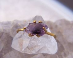 Raw Amethyst Ring - A Solitaire Ring Fit for Your Favorite February Birthday Recipient or Valentine (February Birthstone)