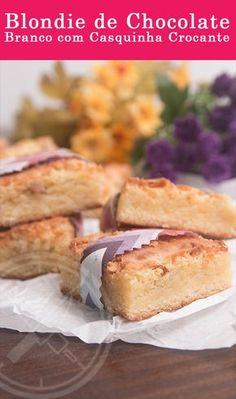 Blondie ou Brownie de Chocolate Branco com casquinha crocante.