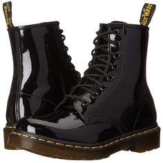 Dr. Martens 1460 W (Black Patent Lamper) Women's Lace-up Boots (7.225 RUB) ❤ liked on Polyvore featuring shoes, boots, botas, black, mid-calf boots, black patent leather boots, mid calf lace up boots, black patent boots, dr martens boots and black boots