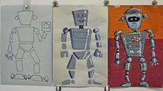 Robot Start with geometric shapes that are not connected. Add highlights and shadows along with details in markers. The last day colored buttons and white reflections along with a background are added. 3rd Grade Art Lesson, Third Grade Art, Kids Art Class, Art Curriculum, School Art Projects, Middle School Art, Art Lessons Elementary, Elements Of Art, Art Lesson Plans