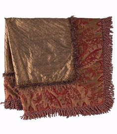 Luxury Table Topper in chenille tapestry square features chocolate brown diamond silk center and surrounding red damask print with bullion fringe edge. Christmas Table Mats, Diamond And Silk, Beaded Cross, Luxury Bedding Collections, Old World Style, Square Tables, Tuscan Style, Table Toppers, Luxury Home Decor