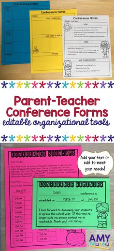 Parent-Teacher Conference Forms & Templates (editable!!)  Everything you need to get organized for conferences.  These forms work great in primary elementary grades (kindergarten, first, and second).  Sign up forms, parent letters, reminders, thank you notes, and schedule templates are all included!   #parentteacherconferences #classroomforms #kindergartenteacher #kindergarten #editableconferenceforms