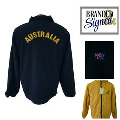 Made by Cooper. Outer Shell Yellow Nylon// Navy Blue Fleece lining. Fleece side has Australia flag on right sleeve. Yellow Windbreaker, Windbreaker Jacket, Mens Leisure Wear, Rugby, Navy And White, Australia, Sweatshirts, Casual, Sleeves