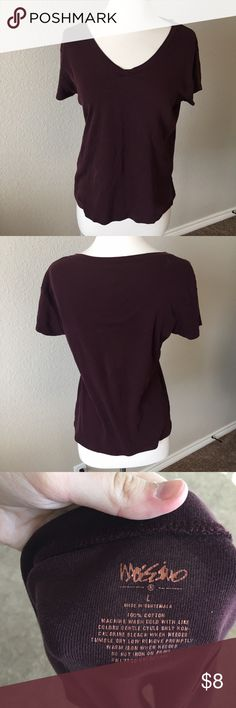 Burgundy Tee Shirt (89) Cute basic low cut tee shirt in a dark burgundy color. Tag size large but best fits a small-medium. Gently worn, no flaws. Mossimo Supply Co Tops Tees - Short Sleeve