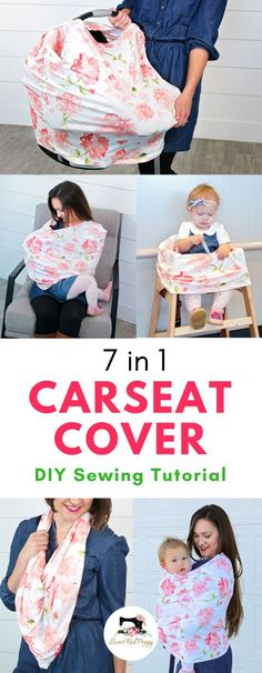 7 in 1 Carseat Canopy Cover Sewing Tutorial with Free Pattern and Custom Printed Spoonflower Fabric - Click to see the easy steps to make this adorable carseat cover/scarf/breastfeeding wrap!  This easy diy takes no time and is the perfect gift for a bridal shower (or for yourself!). #diybaby #baby #makeit #handmade #craftymom #babydiy #breastfeeding #happymommy #sewit #sewing #sewingtips #howtosew