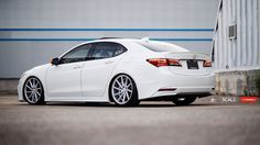 SCALE Suspension has put together an interesting Acura TLX build with a unique custom front lip and side spoilers added on to the OEM accessory kit. The TLX uses SCALE's INNOVATIVE SERIES suspension system and rides Honda Accord 2015, Acura Tsx, Honda Cars, Japanese Cars, Jdm Cars, Honda Civic, Car Show, Fast Cars, Custom Cars