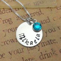English name  round sterling silver disc necklace with by ImaEarth, $39.00